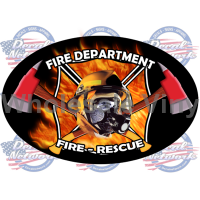 fire rescue oval decal