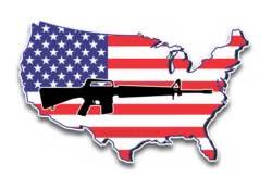 USA MAP GUN DECAL