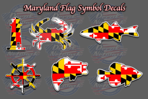 Maryland flag symbol decals