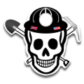 Miner Skull Reflective hard hat decal