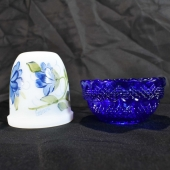 Mosser glimmer lamp cobalt decorated flowers