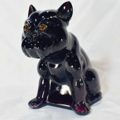 glass bulldog rosso purple white slag