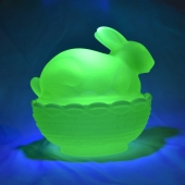mosser glass bunny on basket vaseline glow