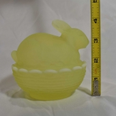 mosser glass bunny on basket vaseline