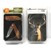ozark trail 6.5 inch pocket knife set tin deer