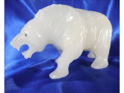 carved alabaster white polarbear carved statue figurine