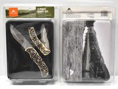 ozark trail 2 piece knife set bone tin