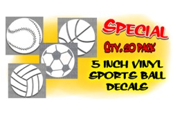 5 inch vinyl ball decals SPECIAL