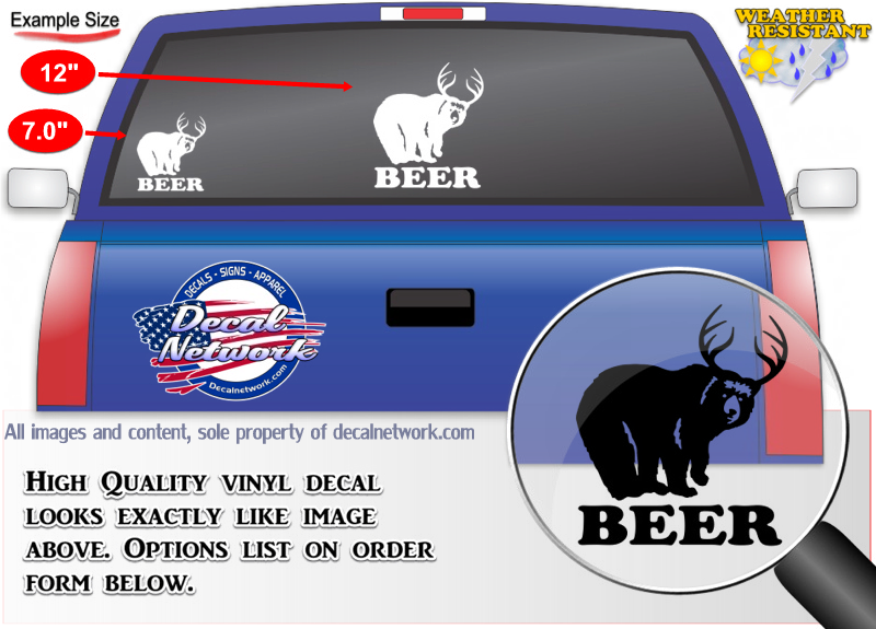BEER bear deer decal